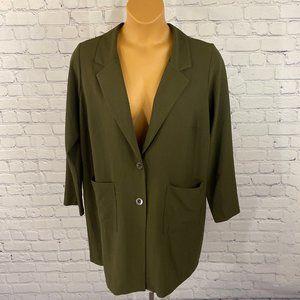 Forever 21+ Women Plus Green Long Blazer Jacket